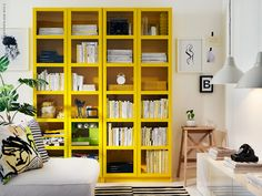 yellow bookshelves