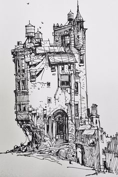 Ian McQue Drawing Lessons, Drawing Sketches, Art Drawings, Castle Drawing, House Drawing, Environment Concept Art, Urban Sketching, Pen Art, Fantasy Artwork