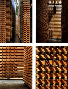Zumthor - Hanover pavillion. THere are no metal connections between wood slats -- it all stands because of compression (a bit like a straw-bale load bearing wall). After dismantling, wood goes easily on one pile, and metal fittings on the other.