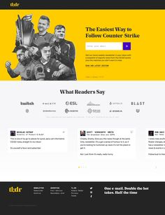 Neat Landing Page (built using Webflow) for the tl;dr newsletter who send a bi-weekly snapshot of esports news from the CS:GO scene.