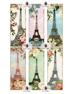 BOOKMARK Digital collage sheet  Glamour Paris  by cameoshoppe, $4.30