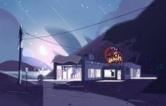 Steven Universe S1E6 «Cat Fingers». Art Director : Kevin Dart - Painter : Sophie Diao