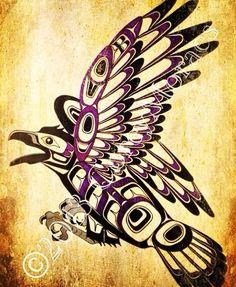 Old School Tsimshian raven tattoo flash, 2013 Corey Moraes Native Tattoos, Crow Tattoos, Wicked Tattoos, Raven Tattoo, Fish Tattoos, Native American Artwork, American Indian Art, Native American Fashion, Tatouage Haida