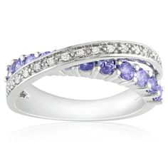 Amazon.com: Sterling Silver Tanzanite and Diamond Crossover Ring (1/10 cttw, GHI Color, I3 Clarity): Jewelry