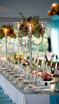decor, setting, ballroom, centerpieces, linen, place setting, napkin, table runner, aqua, table, teal, turquoise, reception
