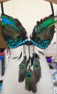 Feather bra - owl / EDC / Rave by PrfctlyInappropriate on Etsy https://www.etsy.com/listing/274412688/feather-bra-owl-edc-rave