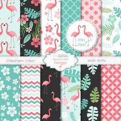 Flamingos digital paper- Tropical digital paper with pink flamingos, leaves, hibiscus - flamingo patterns- Two flamingos clipart included from DIYgital on Etsy Studio