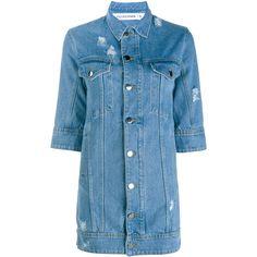 Filles A Papa Denim Shirt Dress (116.205 HUF) ❤ liked on Polyvore featuring dresses, short-sleeve dresses, blue dress, short dresses, short sleeve dress and short denim dress