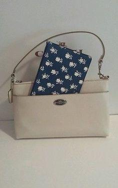 New to Coach 2 piece leather  Floral Pop Pouch F53322 handbag. Chalk Blue multi.
