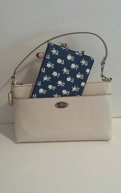 New to Coach 2 piece leather  Floral Pop Pouch F53322 handbag. Chalk Blue multi.