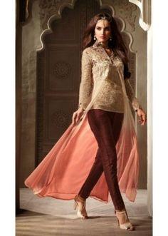 Ethnic Wear Beige & Pink Net Salwar Suit - 3501