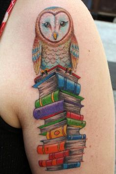 An owl and books… gorgeous idea for a tattoo, beautifully executed.  fuckyeahtattoos:  By Bart Bingham