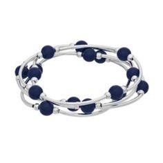 Blue+Beaded+Stretch+Bracelet+Set