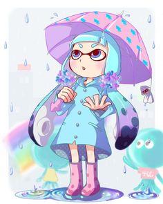 fan art de Liruty d'une squid girl sous la pluie #splatoon