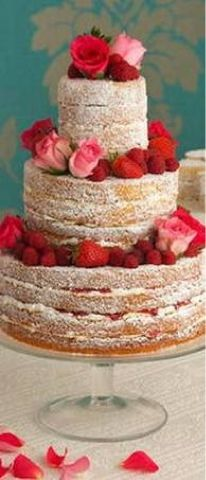 Naked cake with roses & strawberries covered in powdered sugar   DIY Cake Decorating Idea