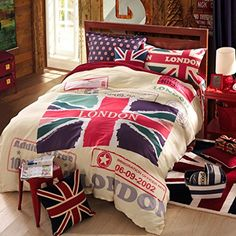 CASA Children 100 cotton series British Flag Duvet cover  Pillow cases  Flat sheet4 PiecesQueen *** Check out the image by visiting the link.