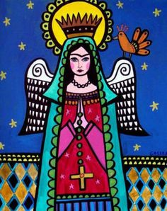 50% Off Today - Virgin of Guadalupe Art Poster Print of painting by Heather Galler Art of Painting -Mexican Folk Art Frida Kahlo