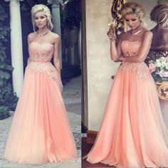 Peach African Prom Dresses 2016 Strapless Lace Imported Long Graduation Evening Dress Coral Slit Tulle Floor Length L157