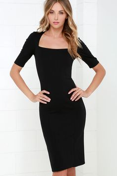 Elevated Black Bodycon Midi Dress Sponsored by Lulus.com