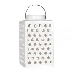 White perforated outdoor garden lantern