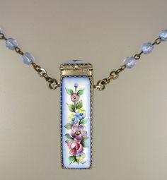 FRENCH Antique Painted Porcelain  Floral ROSE VINAIGRETTE Pendant Necklace Blue Aurora Borealis Crystal Beads-n-vingr