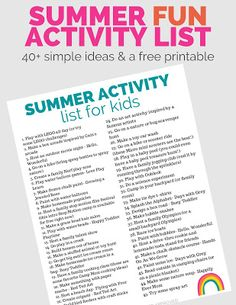 Staycation Summer Activity List Ideas for Kids Stuck at Home Summer Camp Activities, List Of Activities, Toddler Activities, Summer Ideas, Summer Fun, Activity List, Baby Sensory Play, Lego Challenge, Bubble Painting
