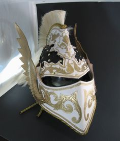 Leather Archangel Helmet Horse Hair Crest Varied styles of scroll work Visor can be raised or easily removed entirely Goes With More in my gallery and at PrinceArmory.com Will upload WIP photos to ...