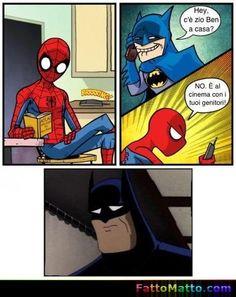 Scherzi da Supereroi - Batman chiama l'Uomo ragno - via FattoMatto.com - #FattoMatto