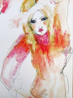 A Blonde in Bright Pink Watercolor, from Etsy seller blondelasagna,