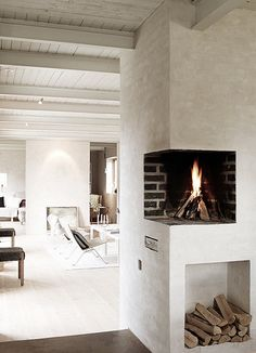 Fireplace and ceiling
