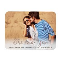 #create - #Your Own Rose Gold She Said Yes! Picture Magnet