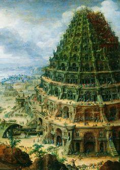 '' La Torre de Babel'' - (1595). (Detalle) Altura: 755 mm (29,72 pulgadas). Ancho: 1050 mm (41,34 pulgadas).  por Marten van Valckenborch - (* 1535-1612), Frankfurt, fue un pintor renacentista flamenco.