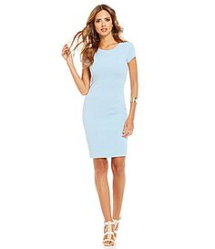 8269c378a0a Gianni Bini Stella Fan Fav Fitted Short Sleeve Sheath Dress