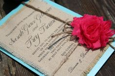 Burlap Wedding Invitation Design Ideas With Handmade Red Rose Ornament