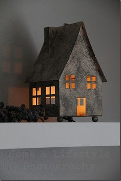 Little zinc house lantern from the blogger's (Ingrid of Home & Lifestyle Photography) home collection. (****Duplicate Pin)