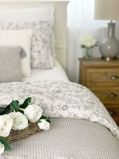 Home Decor Items Small Space Living : How we make the most of our Small Master Bedroom Dreaming of Homemaking Bedding Master Bedroom, Small Master Bedroom, Farmhouse Master Bedroom, Guest Bedrooms, Dream Bedroom, Home Bedroom, Modern Bedroom, Bedroom Decor, Bedroom Ideas