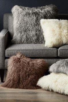 New Mongolian Lamb Wool Cushion Cover Curly Fur Pillowcase Pillow 6 Size Brown Pillows, Fur Throw Pillows, Fluffy Pillows, Couch Pillows, Sofa Chair, Oversized Pillows, Pillow Room, Neck Support Pillow, Support Pillows