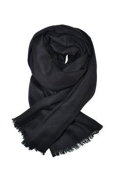 #Herringbone weave black #shawl / #scarf / #wrap in #cashmere and #silk