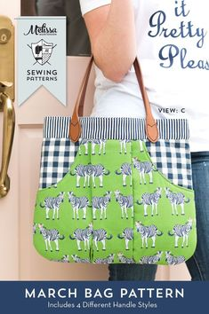 March Bag Sewing Pattern - a PDF Purse or Handbag Sewing Pattern. So cute, I love the big pocket in the front!