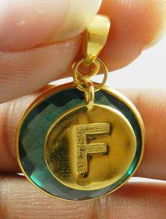 Sparkle Apatite Hydro gemstone F alphabet brass charm pendant necklace jewellery #Handmade #Pendant