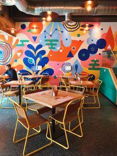 restaurant wall B is for backyard_restaurant amp; Backyard Restaurant, Restaurant Design, Restaurant Restaurant, Mural Wall Art, Mural Painting, Wall Design, House Design, School Murals, Interior And Exterior