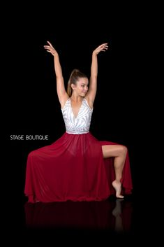 Red & Silver Laser Sequin Dance Costume