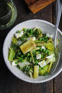 Olive-Oil Braised Leeks and Peas with Feta and Dill - Sunday Dinner: Easter Edition {Katie at the Kitchen Door}