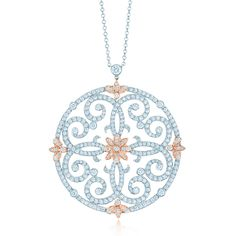 Tiffany Enchant® scroll pendant with diamonds in platinum and 18k rose gold. #wedding #jewelry