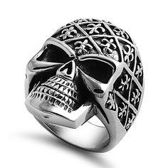 Stainless Steel Fleur de Lis Head Skull Ring