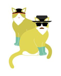 """Pussies on Parade - A Gallery of Feline Art - :Walt and Jesse"""" Catrina and Mouse US Bad Cats, Welcome To The Family, Breaking Bad, Cool Cats, Pop Culture, Pikachu, Disney Characters, Fictional Characters, Geek Stuff"""
