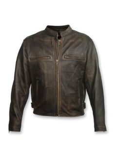 The Crazy Horse jacket by Milwaukee Motorcycle Clothing Company is made from a premium top grain distressed leather. Features unique hand sanded distressed edges for a one of a kind look. Leather Men, Black Leather, Distressed Leather, Cowhide Leather, Best Leather Jackets, Motorcycle Outfit, Motorcycle Jackets, Motorcycle Leather, Motorcycle Clothes