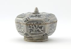 Hexagonal covered box Medium: Stoneware with iron pigment under milky glaze Dimensions: H x W x D: 7 x 8 x 8 cm (2 3/4 x 3 1/8 x 3 1/8 in) Style: Sawankhalok ware Type: Ceramic, Container Origin: Si Satchanalai, Sukhothai province, Thailand Topic: flower, Sawankhalok ware, iron pigment, Thailand, Ayutthaya period (1351 - 1767), stoneware, Southeast Asian Art Credit Line: Purchase Date: 16th century Period: Ayutthaya period