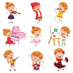Find Vector Illustration Of Little Girl Performing Art stock vectors and royalty free photos in HD. Kids Graphic Design, Book Design, Drawing For Kids, Art For Kids, Rabbit Vector, Bon Point, Easter Stickers, Action Cards, School Clipart