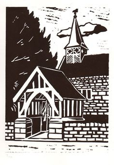 This is one of the first limited run of 10 prints of St Bartholomew's Church in Stoke-on-Trent, hand-printed on BFK Rives archival paper in water-based ink in black-brown. The print area measures cm x the paper size is roughly although . Woodcut Art, Linocut Prints, St Bartholomew Church, Art Alevel, Free Hand Drawing, Linoprint, Stoke On Trent, Encaustic Painting, Chalk Pastels